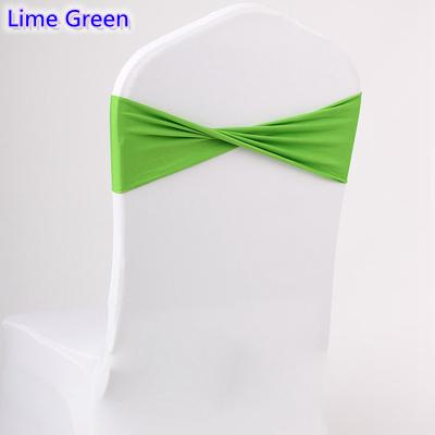 Lime green colour spandex sashes lycra sash for chair cover spandex bands bow tie For Wedding Decoration banquet design for sale