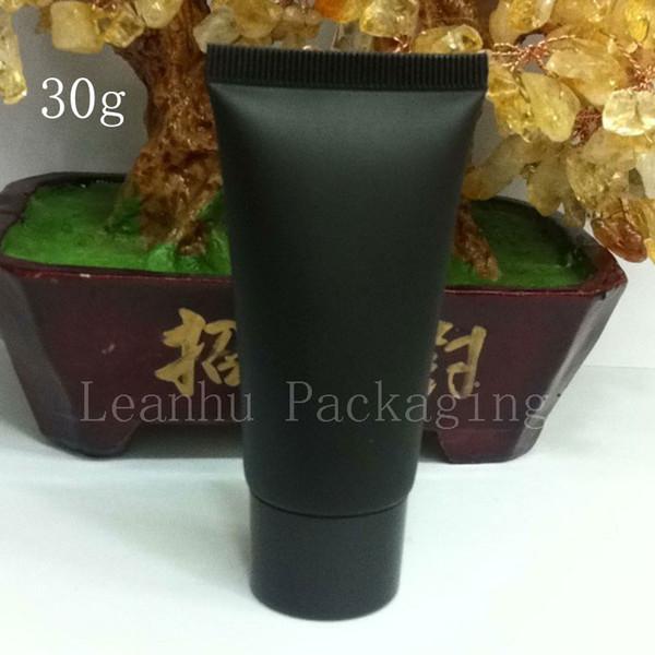 Al por mayor-30g cosmético vacío negro tubo suave helada botella crema de maquillaje Loción champú contenedor con tapa, 1OZ Unguent contenedores tubo