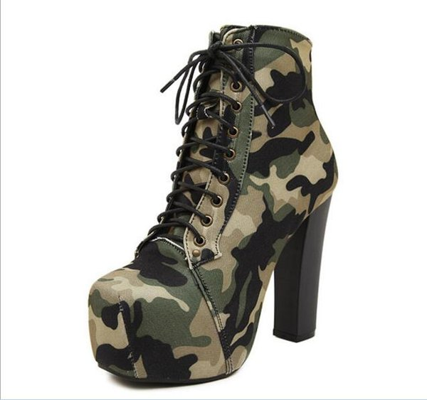 Women 14cm Bottom High Heel Boots Cross Strap Camouflage Mid Calf Boots Warm Plush In Winter Botas Woman Winter Footwear Size 35-40