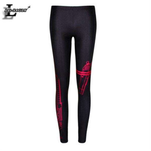All'ingrosso- Nuovo 2017 Red line Guns Leggings Stretch Ventilation Fashion Bodycon Leggins Skinny confortevole gioventù Slim pantaloni F450