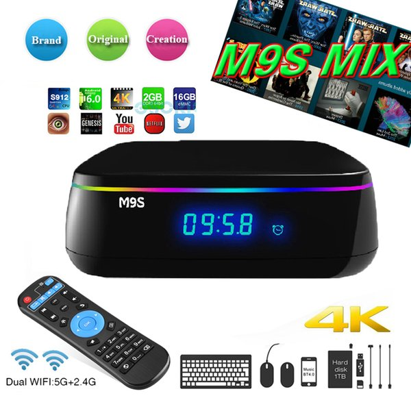 M9S MIX Amlogic S912 Octa core 2G/16G Android 6.0 network TV Box WiFi BT4.0 2.4G/5.8G H.265 4K Smart Media Player