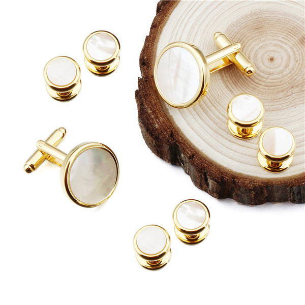 Trendy Men Dress Suit Tuxedo 6 Studs Cufflinks Set Gold Color Stone Cuff Links Men Jewelry Wedding Gift