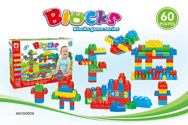 60 pcs Australia Rainbow Building Blocks DIY Big Particles Assembled Science and Education Children Play Block Puzzle Kids Toys Wholesale