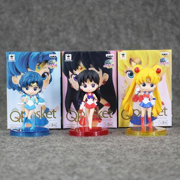 Great 3pcs/lot Q posket Sailor Moon Tsukino Usagi / Sailor Mercury Mizuno Ami / Sailor Mars Hino Rei PVC Action Figure Toy
