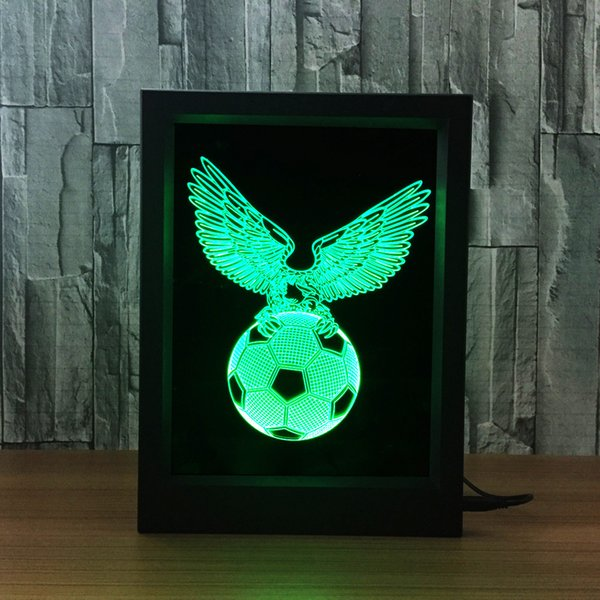 3D Football Eagle LED Photo Frame IR Remote 7 RGB Lights Battery or DC 5V Factory Wholesale Dropship Free Shipping