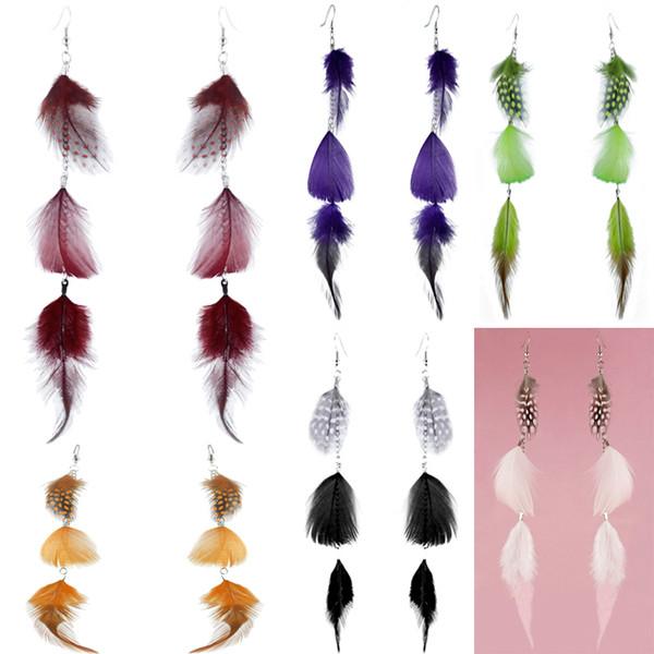 Feather Earrings 6 Colors wholesale lots Cute Silver Tone Chain Light Dangle Eardrop New ( Burgundy Green Purple Orange Black White )(JF314)