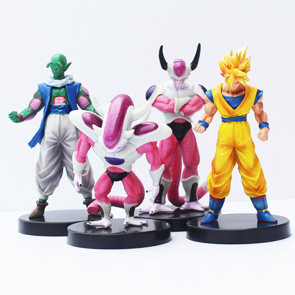 4pcs / lot Dragon Ball Congélateur Freeza Piccolo Goku PVC Action Figure Collection de Jouets Modèle Poupée Jouets 14cm Environ