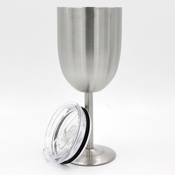 stainless steel Wine Glass 10oz Goblet 10oz Wine Cup multi color Red Champagne Glass Creative Home Drinking Ware with lids IN STOCK