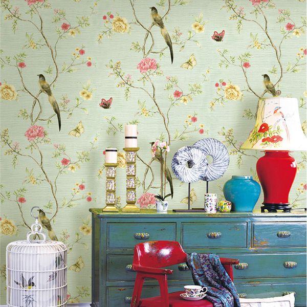 Çin Tarzı Pastoral Çiçek Kuş Duvar Kağıdı 3D Kabartmalı PVC Su Geçirmez Oturma Odası Yatak Odası Duvar Kağıdı Ruloları Ev Dekorasyon
