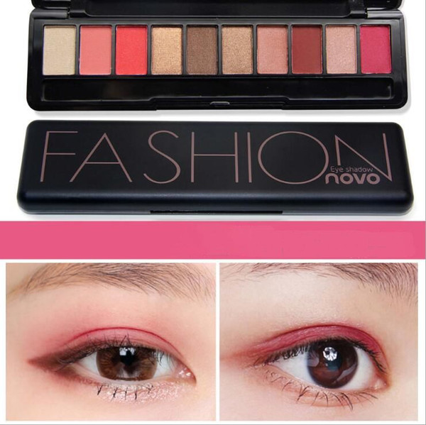 NOVO 5077 model 10 different colors eye shadow MATTE + SHIMMER fashion eyeshadow with brush and retail packing.