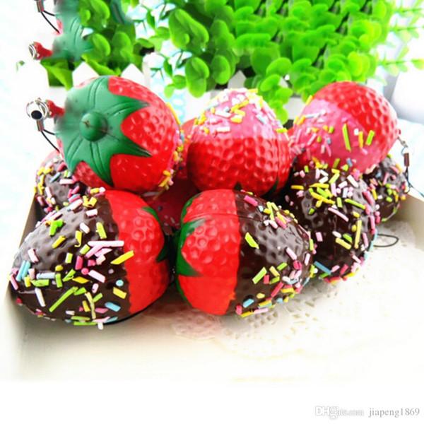 top popular 1PC Kawaii Flatback DIY Miniature Strawberry Squishy Bread Keychain Charm Strap Scrapbooking Embellishment Decoration Crafts 2019