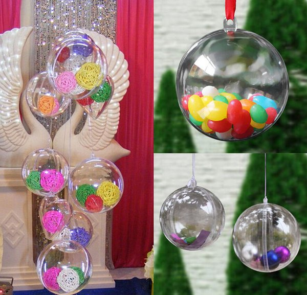 Wholesale-10PCS Christmas Tree Decor Ornament 5CM Ball Type Box Transparent Plastic Craft Christmas Gift Boxes transparent plastic ball