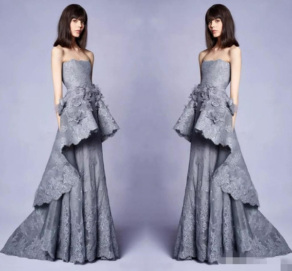 Elegant New 2019 Collection Long Grey Evening Gowns With 3d Floral Embellishments Lace Strapless Neckline Pageant Party Dress Gowns for Prom