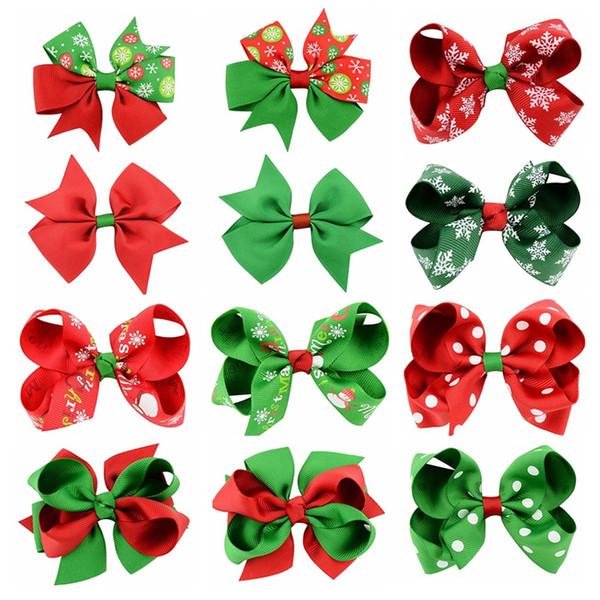 top popular Baby Girls Bow Hairpins Barrettes Christmas Grosgrain Ribbon Bows WITH Clip Snowflake Kids Girl Pinwheel Hair Clips Hair Pin Accessories gift KFJ100 2021