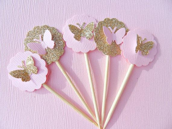 Wholesale- Gold Glitter Butterfly engagement Cupcake Toppers wedding bridal shower Party treat toothpicks photo booth props
