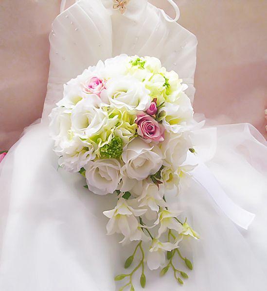2017 Wedding Bouquet Handmade Flowers Cheap White And Pink Teardrop ...