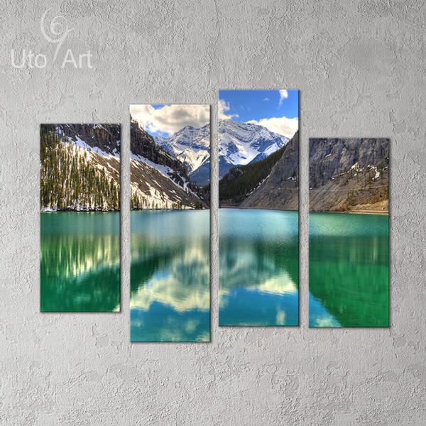 4 PCS Wall Decor Painting Mountain Landscape Art Print Decorative Digital Picture Canvas Printing For Home Decoration