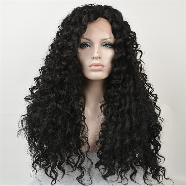 kabell African American fashion Fashion wigs lace front wigs 1# Black curls hair long lace front wigs White women Big wave hairstyle curls