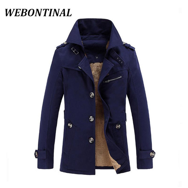 Wholesale- WEBONTINAL Winter Warm Jacket Men Windbreakers Male Casual Coats Quality Cotton Thicken Velvet Jackets Windrunner For Outerwea