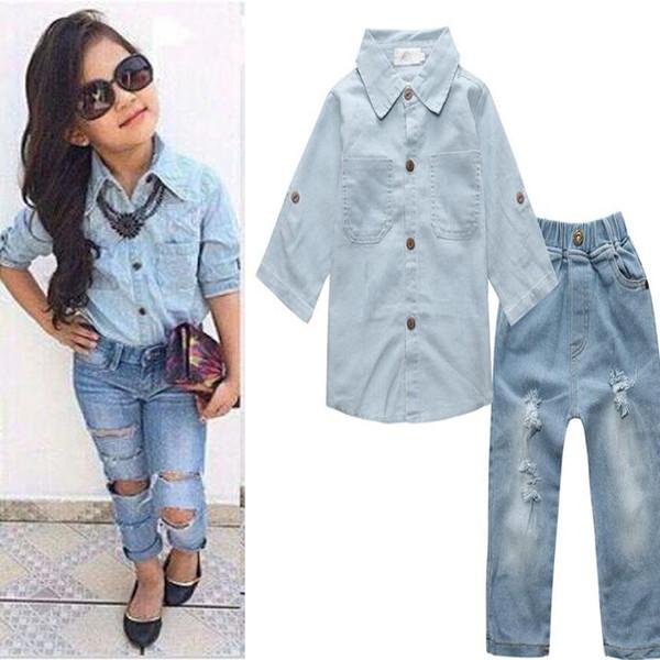 Großhandel Baby Mädchen Stellt Kleidung Shirt + Jeans Damen Outfit Kinder Kausale Freizeit Setzt Kinder Baumwolle Baby Sets Tops + Hosen Boutique 2 7Y