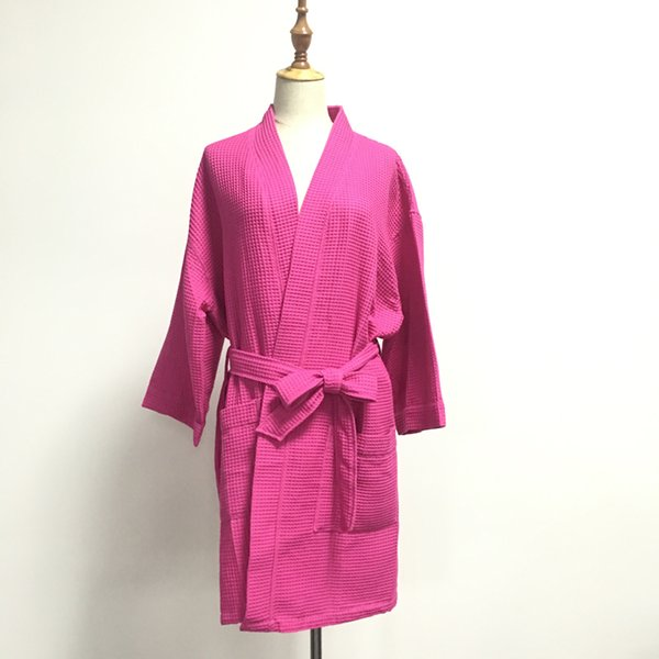 Wholesale DOMIL Long Sleeve Free Size Pink White Waffle Bathrobe Women's Dressing Gown Party Shower Bathrope DOM540