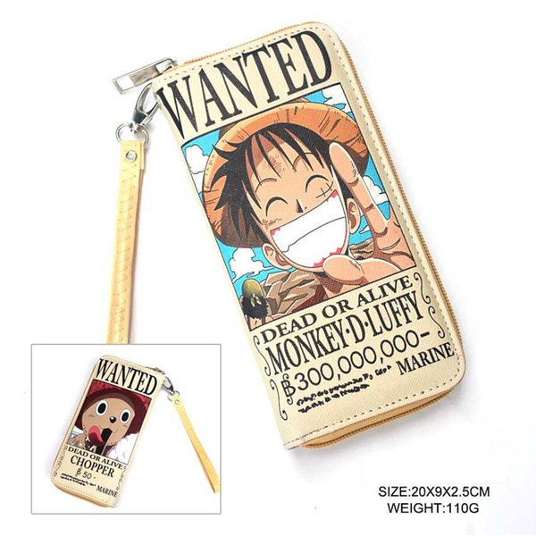 Wallet/Cell Phone Purse of One Piece Luffy & Chopper of Anime PU Long Purse for Cosplay Gift