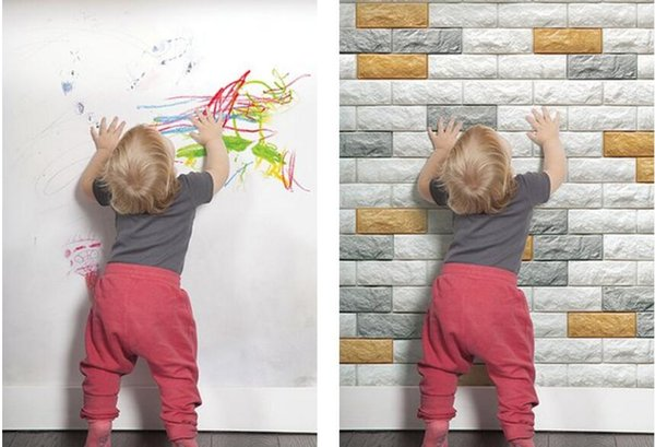 3D Brick Wall Sticker Self Adhesive Foam Wallpaper Panels Kids Room Decal
