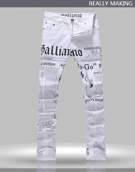 Wholesale-Hot Men's John Males Galliano Top Quality Punk Rock Nightclub DS DJ Newspaper printed pattern Slim Jeans Motorcycle Jeans
