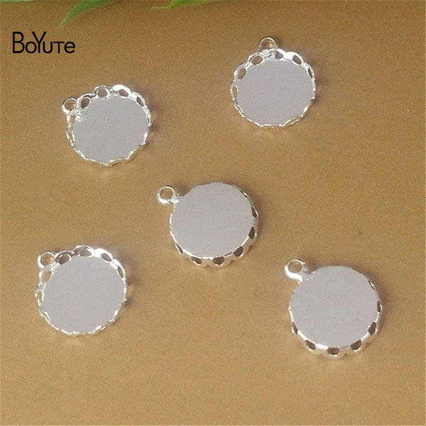 BoYuTe 100Pcs Round 12MM Cameo Cabochon Base Setting Silver Plated Pendant Blank Tray Diy Jewelry Making