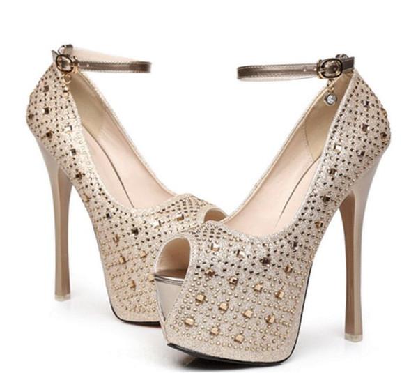 New Women's Super High Heel 16 cm Waterproof Shoes diamond wedding shoes Super High Platform Spikes Pumps 2 Colors Gold Black