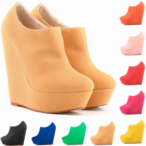 New Womens Autumn Winter Elegent Platform High Heels Suede Shoes Ankle Boots Wedges Botas Femininas Europe Size 35-42 D0042