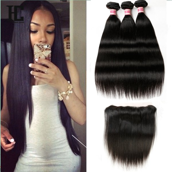 Brazilian Virgin Human Hair Straight With Lace Frontal Closure 3 Bundles with Frontal Closure Top Lace Closure 8-20 inch