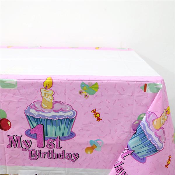Atacado- 1pcs \ lote 1º aniversário mapas feliz festa do chuveiro de bebê crianças meninas favores rosa plástico tablecover decoração suprimentos de toalha de mesa