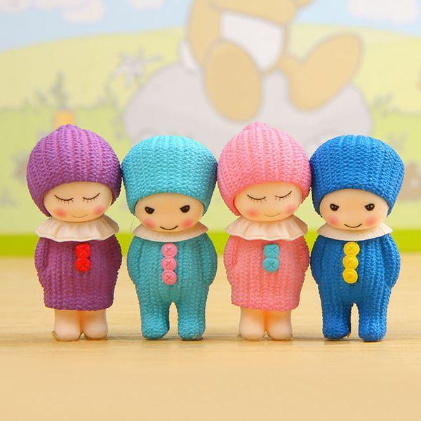 4pcs Woolen Baby Fairy Garden Miniature Dollhouse Toys terrarium Bonsai Tools Resin Crafts Micro Landscape Home Decoration Jardin Gonmes