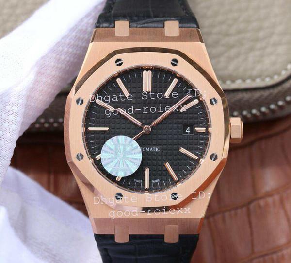 Luxo Rose Gold Mens Automático Cal.3120 Homens Relógio Preto Branco 15400 Couro Real 41mm JF À Prova D 'Água Relógios De Pulso De Fábrica De Cristal relógios de Pulso
