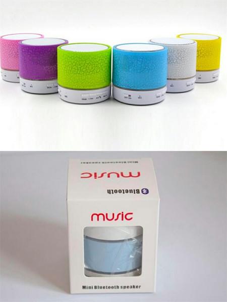 Altoparlante senza fili Altoparlanti Bluetooth Mini A9 Led Colorato Flash Speaker FM Radio TF Card USB per iPhone X 8 Mobile Phone PC S8