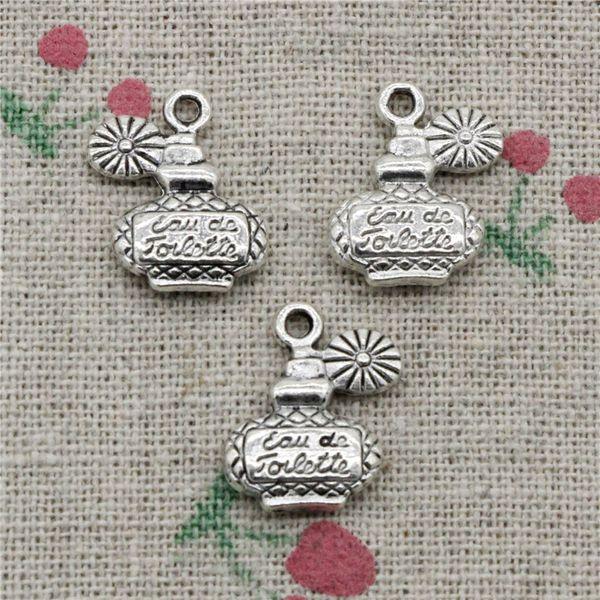 65 unids Charms perfume botella 17 * 12 mm colgantes de plata tibetana de la vendimia para la joyería que hace DIY collar de la pulsera