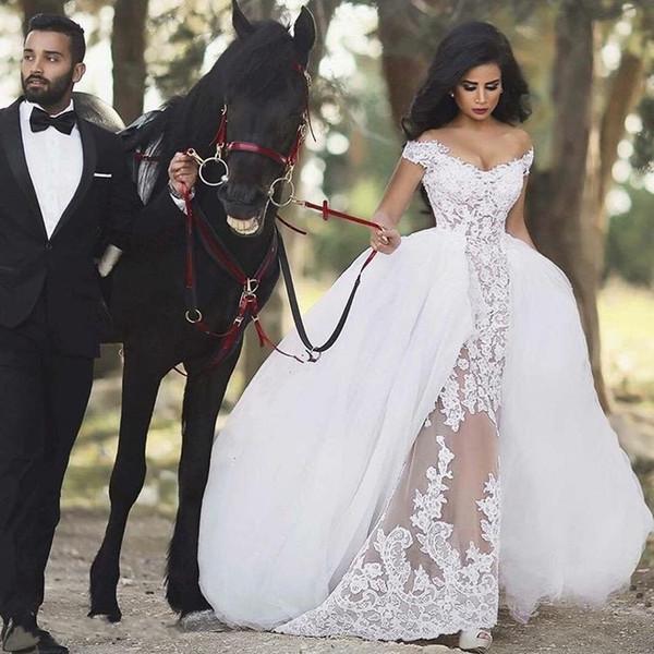 Großhandel Mode Elegante Spitze Brautkleider 2017 Abnehmbare Rock ...