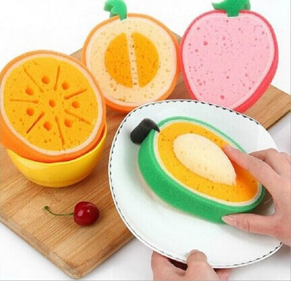 500pcs Fruit type sponge dishclout bowl microfiber cleaning cloth waffle weave kitchen towels dish washing cooking tools