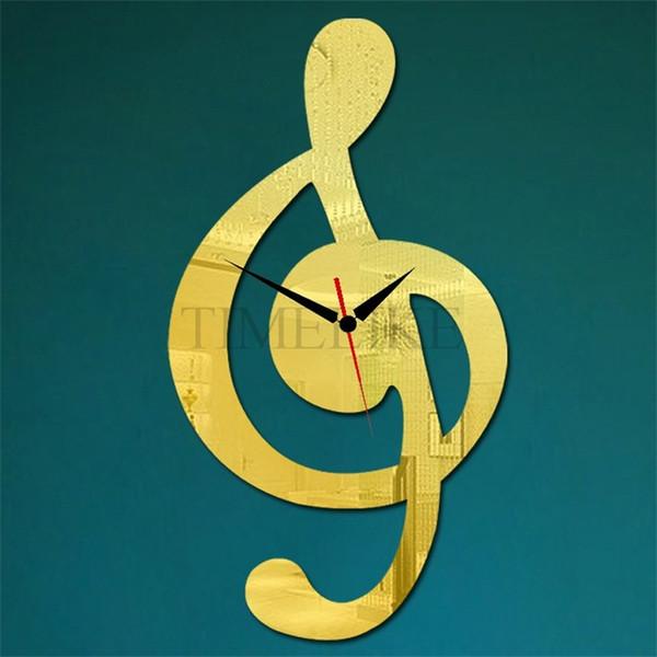 Toptan-Ev Dekorasyonu Lüks Duvar Saati DIY Ayna Çıkartmalar Saat Müzik Not büyük Dekoratif Duvar Saatleri Horloge Murale