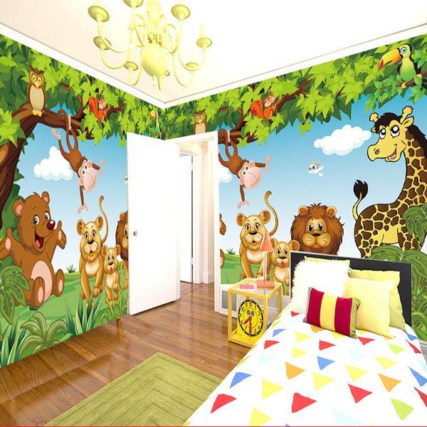 Cartoon Wall Mural Forest Animals Animation children room 3D Mural for Kids Room Boy/Girl Bedroom wallpaper custom any size