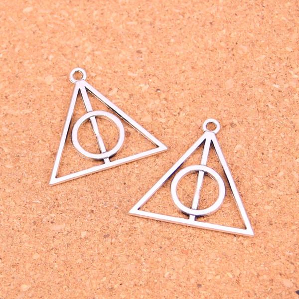 45 unids plata antigua encantos reliquias de la muerte colgante ajuste collar pulseras DIY Metal fabricación de joyas 32 mm