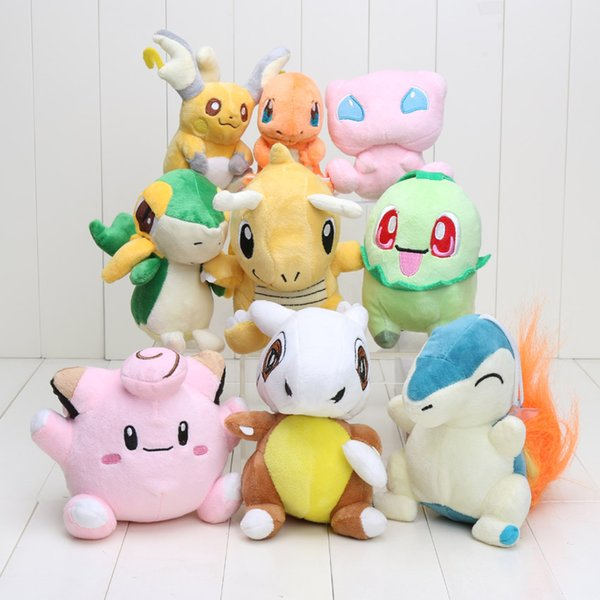 9Pcs/lot Pocket Plush Toy Clefairy Raichu Charmander Snivy Dragonite Chikorita Cubone Cyndaquil Mew Dolls
