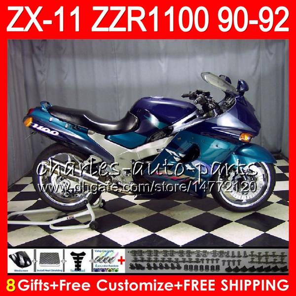 8Datos 23Colores Para KAWASAKI NINJA ZX11 ZX11R 90 91 92 ZZR 1100 21NO50 azul negro ZX 11 11R ZZR1100 ZX-11R ZX-11 1990 1991 1992 Juego de carenado