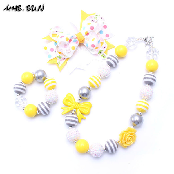 MHS.SUN Yellow Color Bow Necklace&Bracelet Headband 3PCS Set Birthday Party Gift Toddlers Girls Bubblegum Baby Kid Chunky Necklace Jewelry