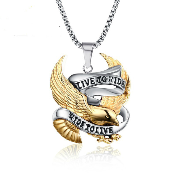 Fashion Eagle Necklace Pendants LIVE TO RIDE Biker Sport Men Gold Plated Stainless Steel Hero Jewelry PN-158