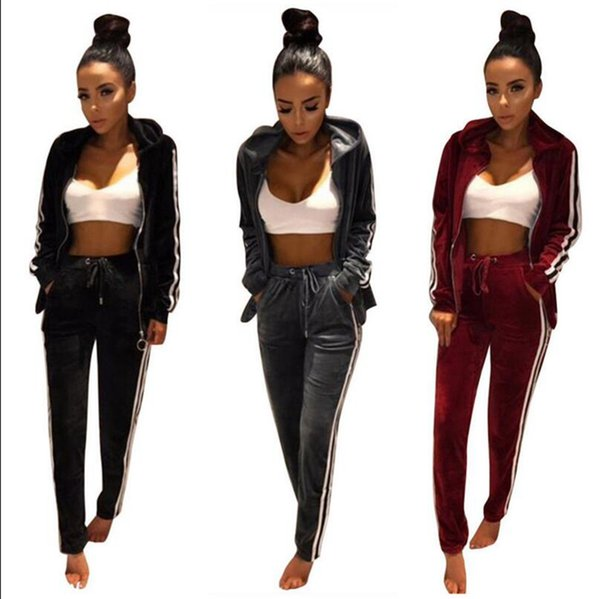 Women Velvet Tracksuit Hoodie Sweatshirt Pants Sets Sportwear Button Casual Suit Jogging Gym Sport Suit 2pcs/set OOA3102
