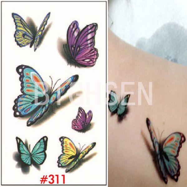 All'ingrosso-Nuovo 3d farfalla piccoli tatuaggi temporanei tatuaggi Tatuaggi multicolore tatuaggio temporaneo falso autoadesivo del tatuaggio 3d WTAo311