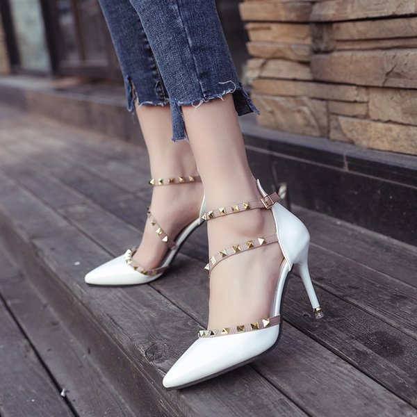 Runway Scarpin Nude High Heels Pointed Toe Rivet Pumps Fashion Brand Women Shoes 2017 Italian Ankle Strap Size 35-39 Stud