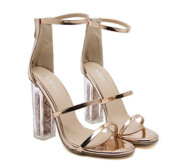 New gold sandals ankle strap clear PVC transparent chunky heels wedding shoes Size 35 To 40